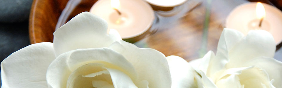 orchid flower and candles